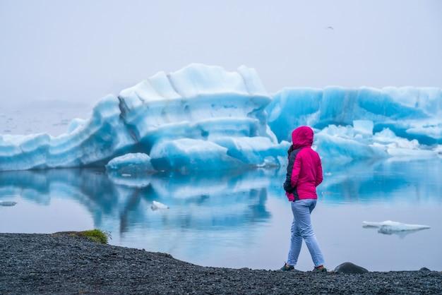 Travel in jokulsarlon glacial lagoon in iceland.