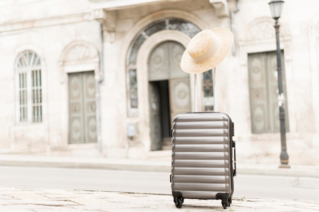 Travel luggage in city