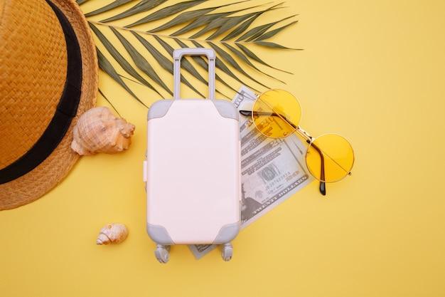 お金の帽子とサングラス付きの旅行かばんスーツケース