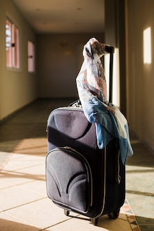 Travel luggage with scarf in the sunlight