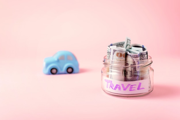 Travel money savings concept