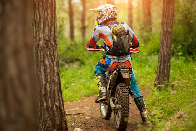 Travel motorcycle off road motorcyclist gear, looks in autumn forest, adventure concept, active lifestyle, enduro, end of season, alone