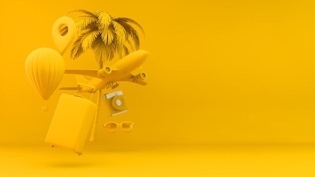 Travel objects concept in yellow