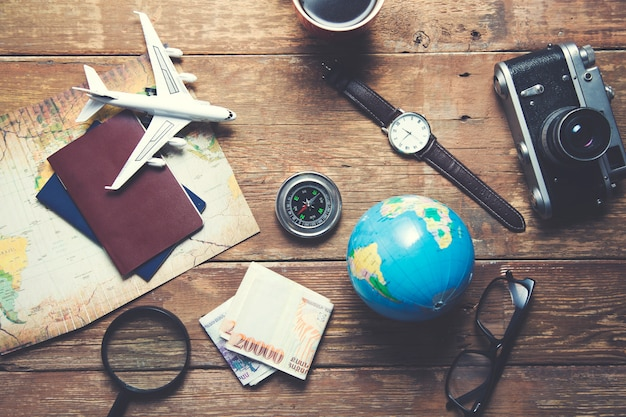 Travel objects on table
