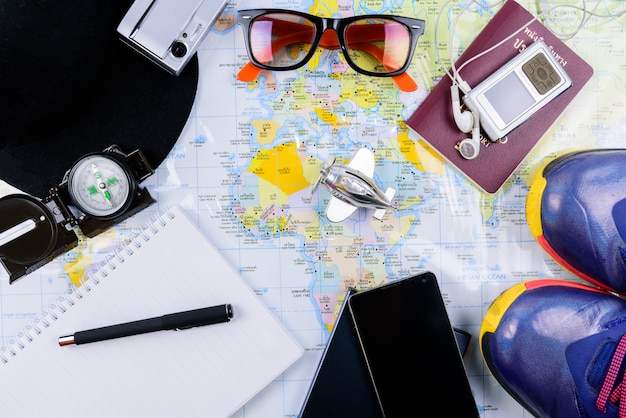 Travel planner with all accessories equipment for travel