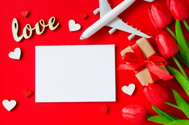 バレンタインデーの旅行計画。旅行の概念、モックアップ。