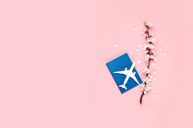 Travel planning. toy plane, passport and twig flowers