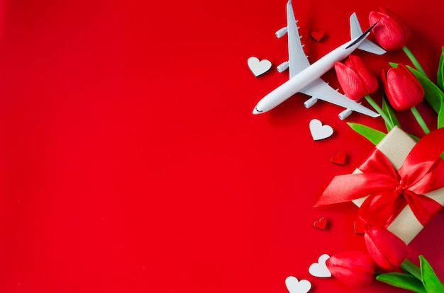 Travel planning on valentines day  background