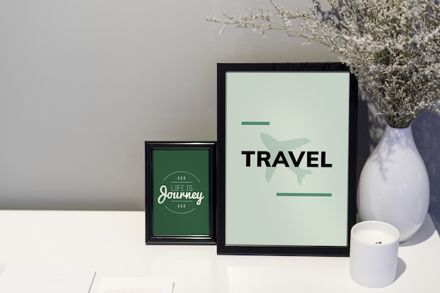Travel quote and illustration in picture frames