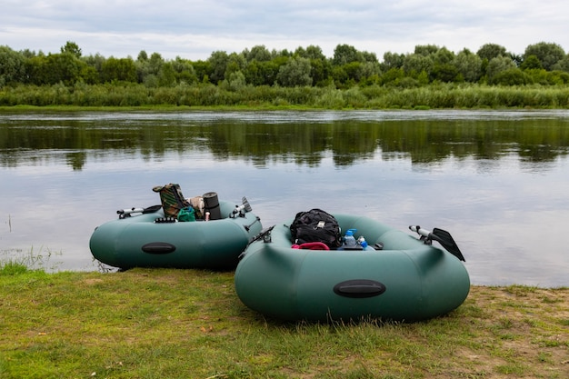 Travel, rafting on an inflatable rubber boat on the river. active recreation concept.