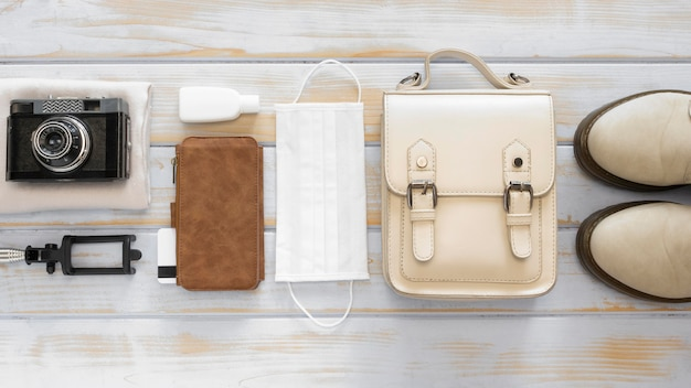 Travel still life pack  top view