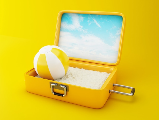 Travel suitcase. beach vacation concept