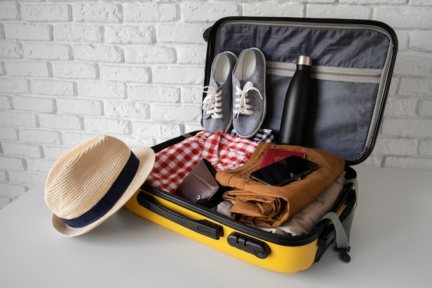 Travel suitcase and preparations packing