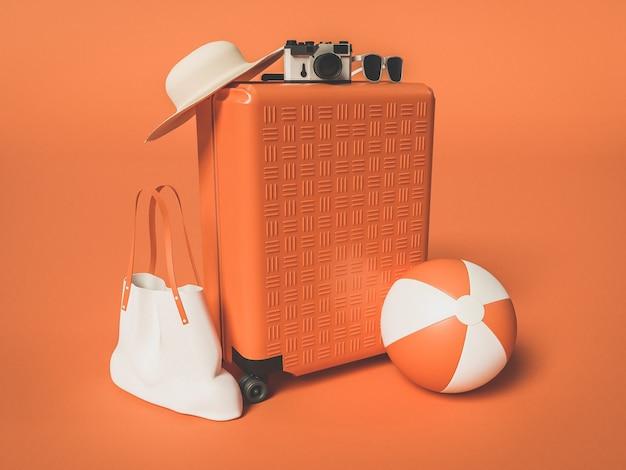 Дорожный чемодан с пляжным мячом, соломенной шляпой и солнцезащитными очками. концепция летних путешествий.