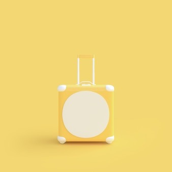 Travel suitcase yellow pastel color