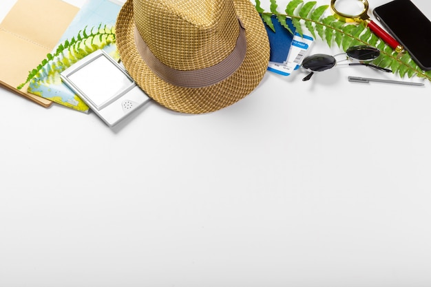 Travel, summer vacation, tourism and objects concept