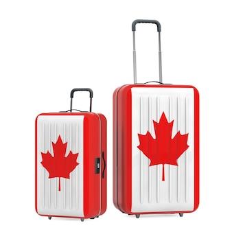 캐나다 컨셉 여행. 흰색 바탕에 캐나다 국기와 함께 가방입니다. 3d 렌더링 프리미엄 사진
