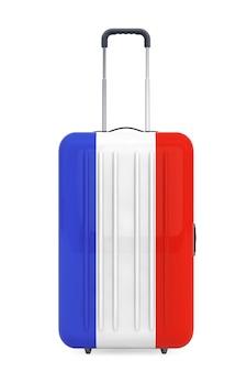 Путешествие во францию консеп. чемодан с флагом франции на белом фоне. 3d рендеринг