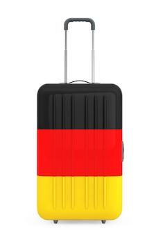 Путешествие в германию консеп. чемодан с флагом германии на белом фоне. 3d рендеринг