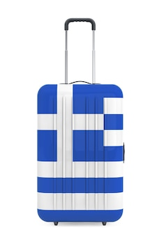 Путешествие в грецию консеп. чемодан с флагом греции на белом фоне. 3d рендеринг