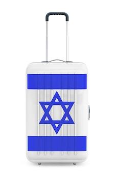 Путешествие в израиль консеп. чемодан с флагом израиля на белом фоне. 3d рендеринг
