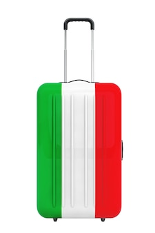 Путешествие в италию консеп. чемодан с флагом италии на белом фоне. 3d рендеринг