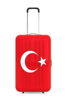 Путешествие в турцию concep. чемодан с флагом турции на белом фоне. 3d рендеринг