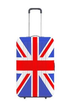 Путешествие в соединенное королевство консеп. чемодан с флагом великобритании на белом фоне. 3d рендеринг