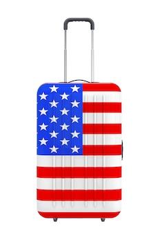 Путешествие в сша консеп. чемодан с флагом сша на белом фоне. 3d рендеринг