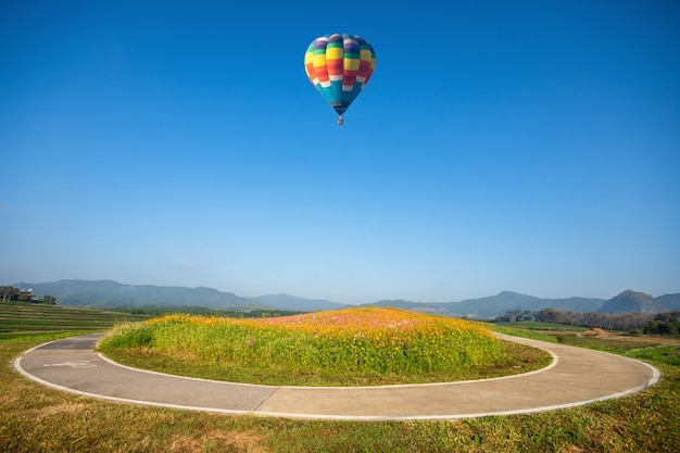 Travel and tourism. colorful hot air balloon flying in the mountains, beautiful flower gardens viewed on the basket in singha park, chiang rai, thailand.