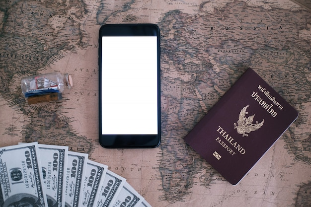 Travel and tourism concept with smartphone mock up template preparation for travelers.