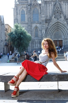 Travel. tourist women traveling, walking on street