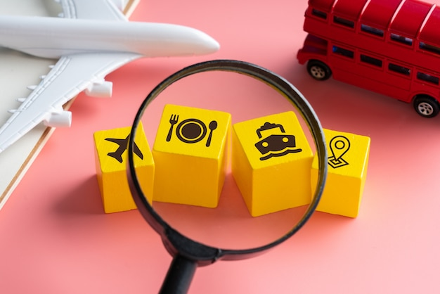 Travel and transport icon on colorful concept background