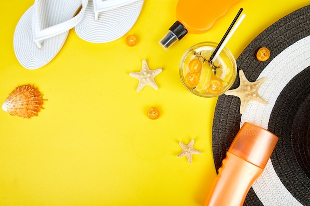 Travel or vacation accesories and sodaon yellow