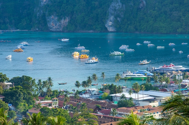 Travel vacation background tropical island with resorts phi-phi island krabi province thailand