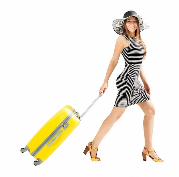여행 휴가 가방을 가진 여자