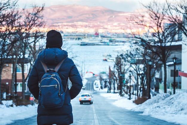 Travel woman in winter season