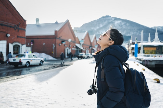 Travel woman in winter season