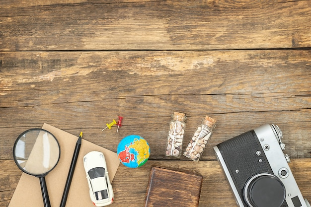 Travel wooden surface with accessories for journey