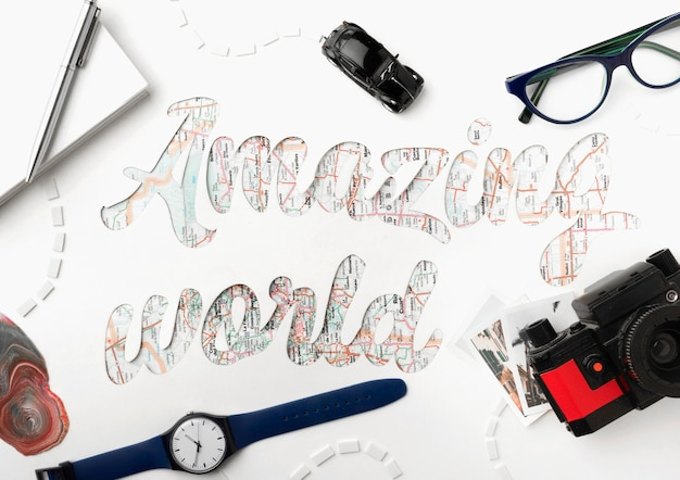 Travel the world concept with objects