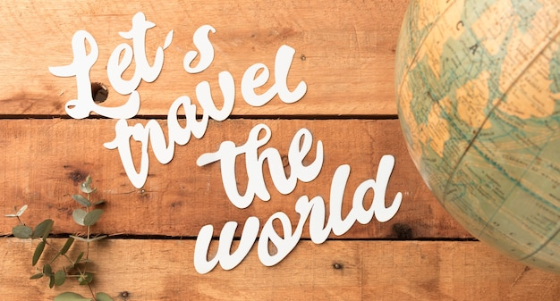 Travel the world concept with planet