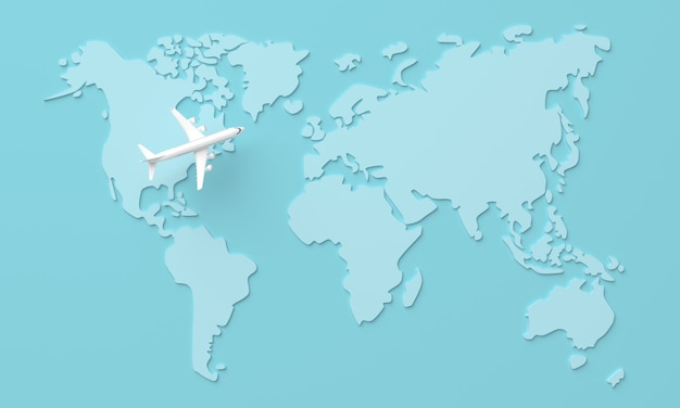 Travel world map background with plane, top view. 3d rendering