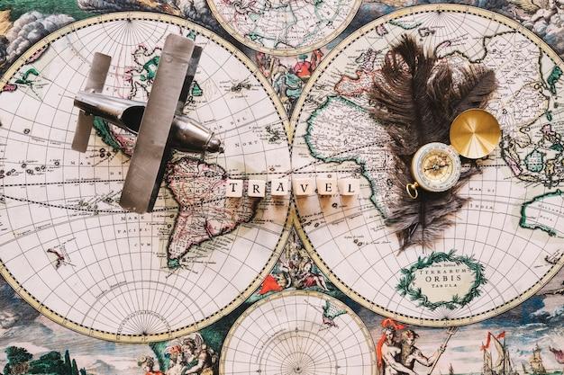 Travel writing and feathers near tourist stuff
