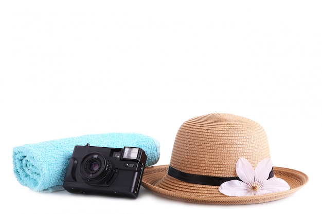 Traveler accessories isolated on white travel vacation concept.