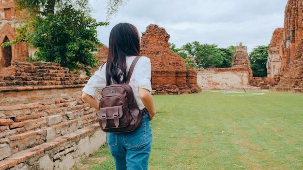 Traveler asian woman spending holiday trip at ayutthaya, thailand