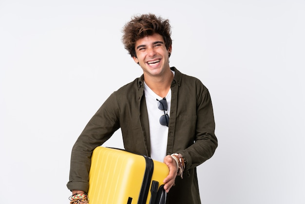 Traveler man with suitcase