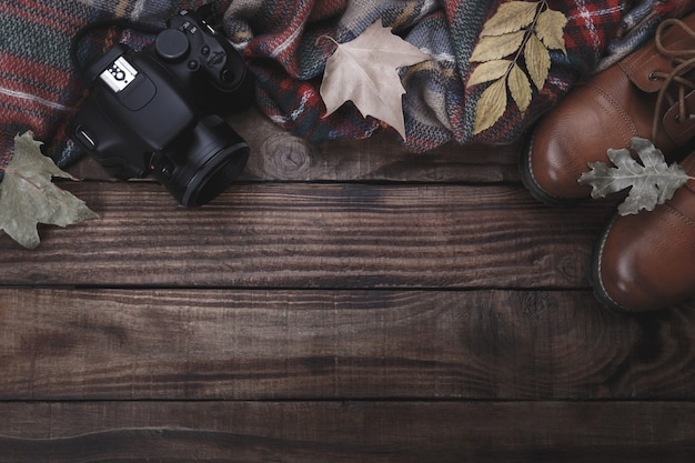 Traveler's or photographer's concept background, top view, flat lay