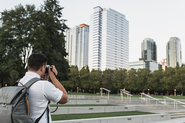 Traveler taking pictures of the city