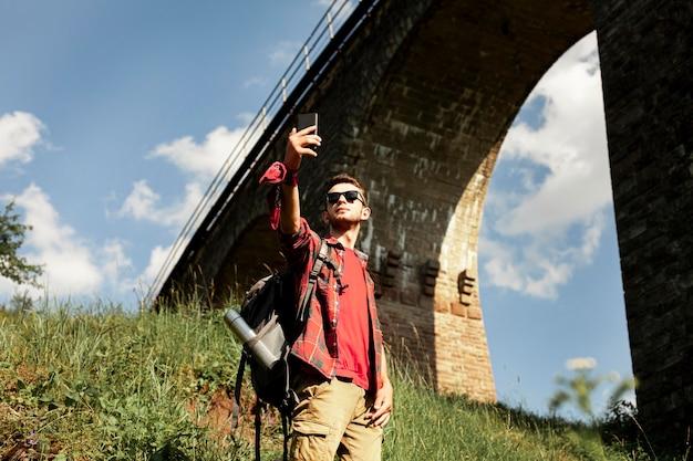 Traveler taking selfie