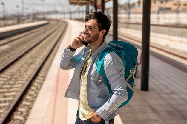 Traveler talking on phone